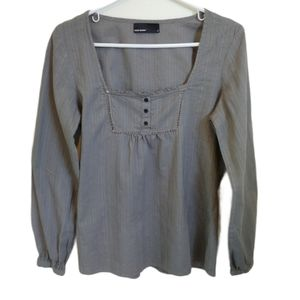 Vero Moda Gray Long Sleeved Peasant Blouse, M